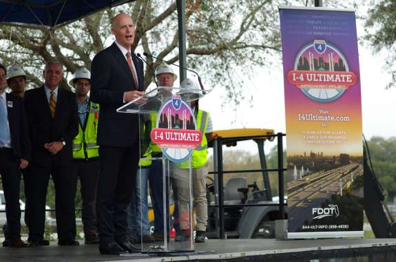Gov. Scott at the I-4 Ultimate groundbreaking in Maitland. Photo: FDOT