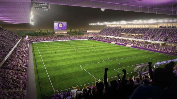 Construction workers broke ground on the new stadium in 2014 and expect to complete by early next soccer season. Photo: Orlando City Soccer.