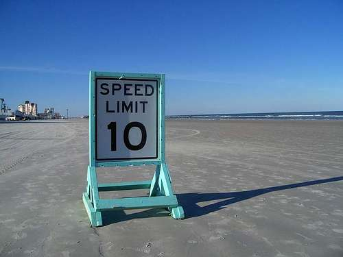 Posted speed limit on Daytona Beach. Photo by Michael Kooiman