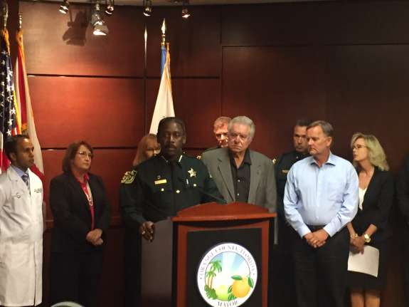 Orange County Sheriff Jerry Demings speaks at the launch of the county's heroin task force. Photo: Abe Aboraya, WMFE