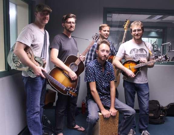 Beemo- (l-r) Sean Quinn, Dan Harshbarger, Tony Mickle, Matt Juliano. Seated: Justin Braun. Photo: Matthew Peddie, WMFE