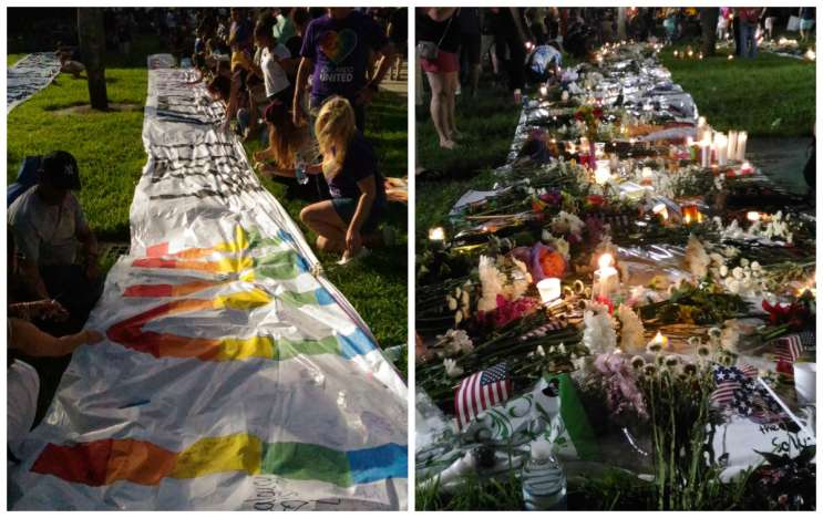 Orlando City Soccer supporters brought banners to the vigil. Photo: Matthew Peddie, WMFE