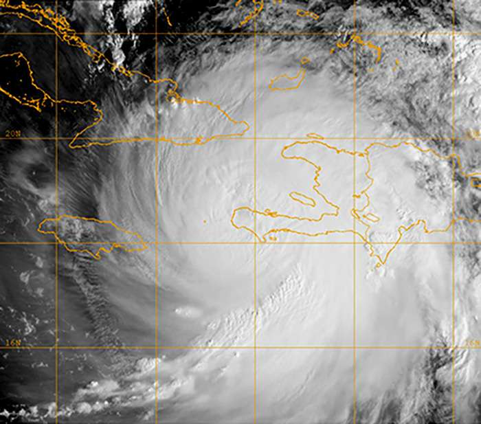 A satellite image of Hurricane Matthew in the Caribbean Sea. Photo: US Navy