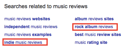 Google searches related to music reviews
