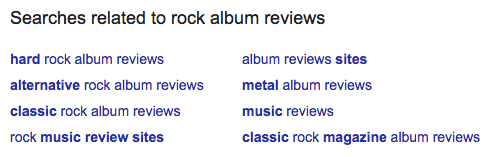 Google searches related to rock album reviews