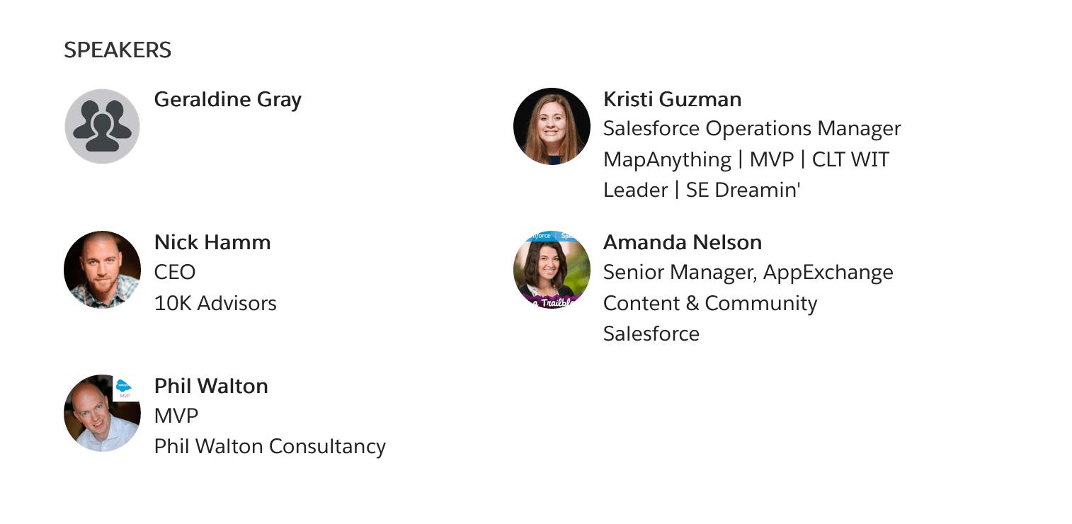 SalesforceMVp session speakers