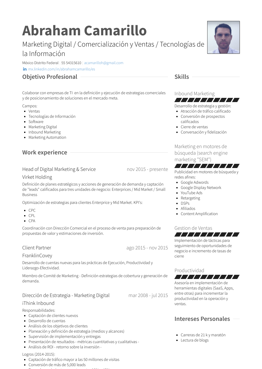 head of marketing resume