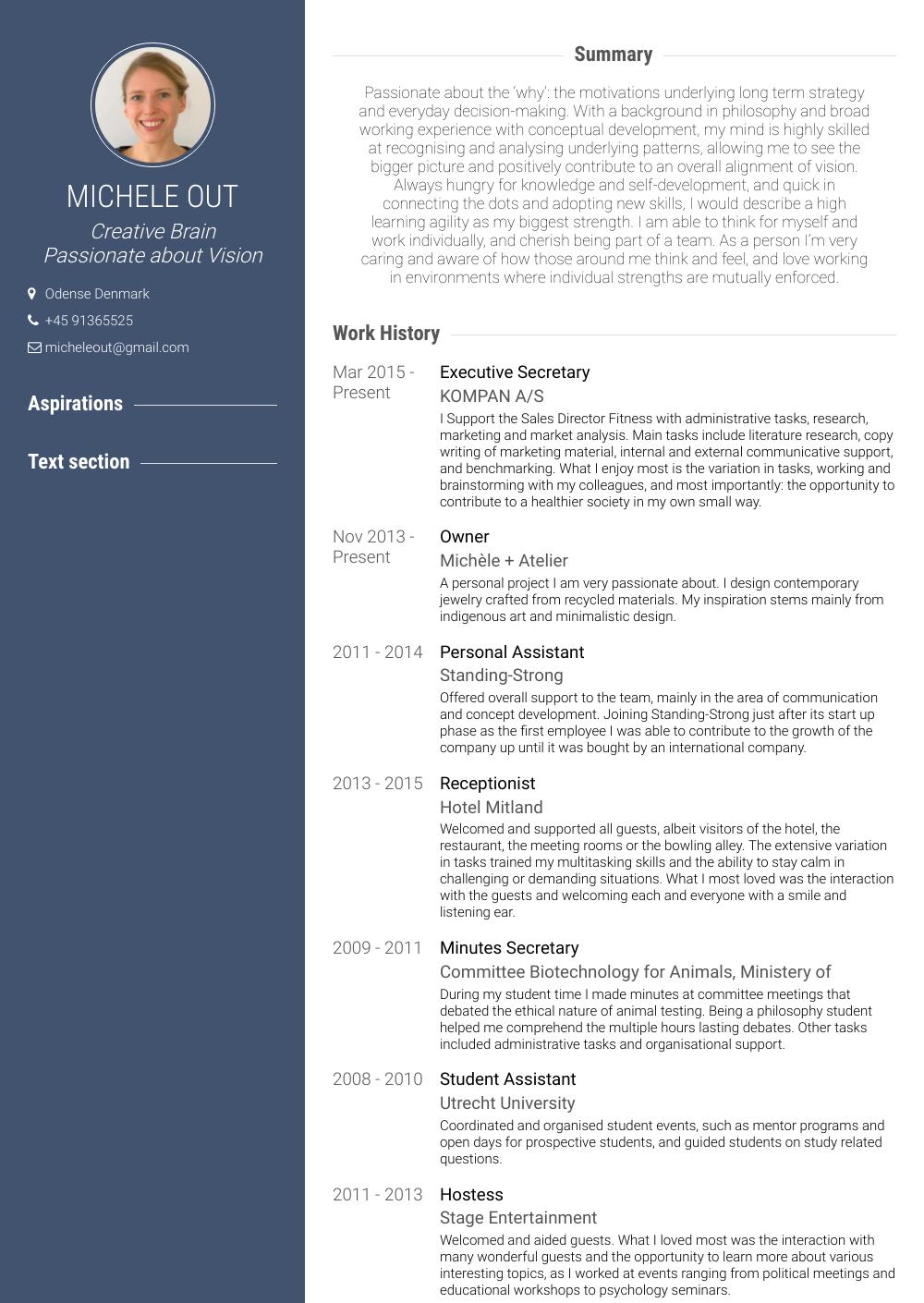 Executive Secretary  Resume Samples and Templates  VisualCV