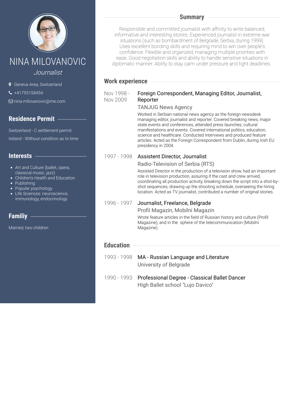 Correspondent Resume Samples & Templates VisualCV