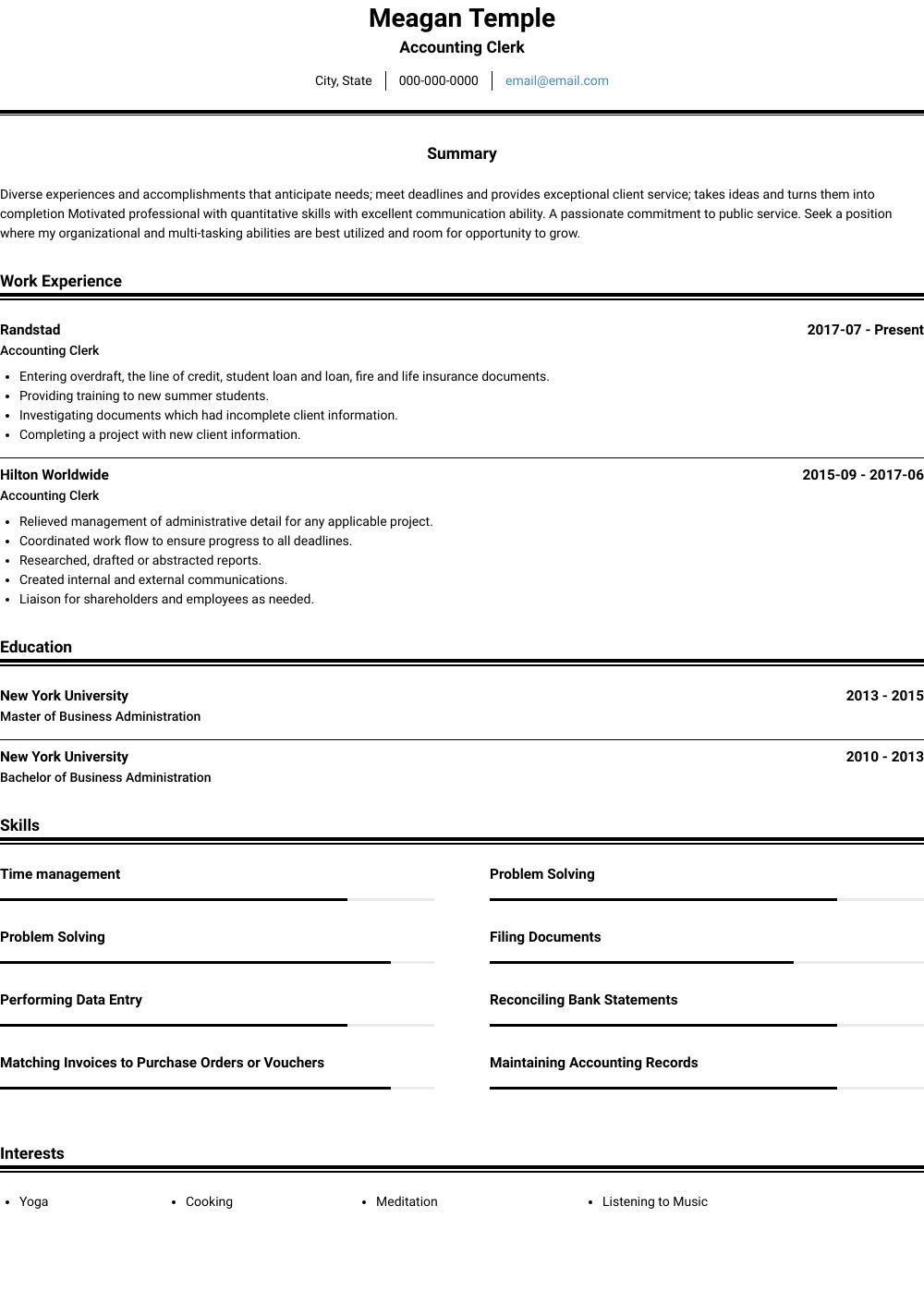 Accounting Clerk  Resume Samples  Templates  VisualCV
