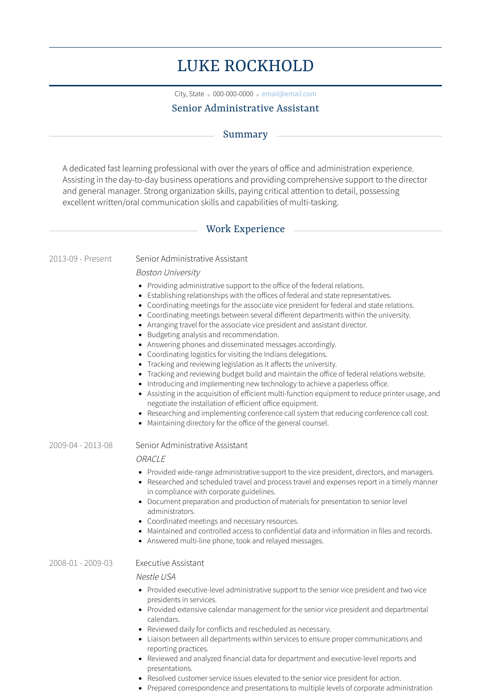 Sr Administrative Assistant Resume Administrative Assistant Resume Samples Templates Visualcv