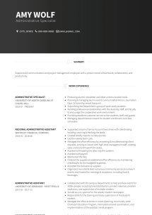 Resume Cover Letter Samples Administrative Specialist