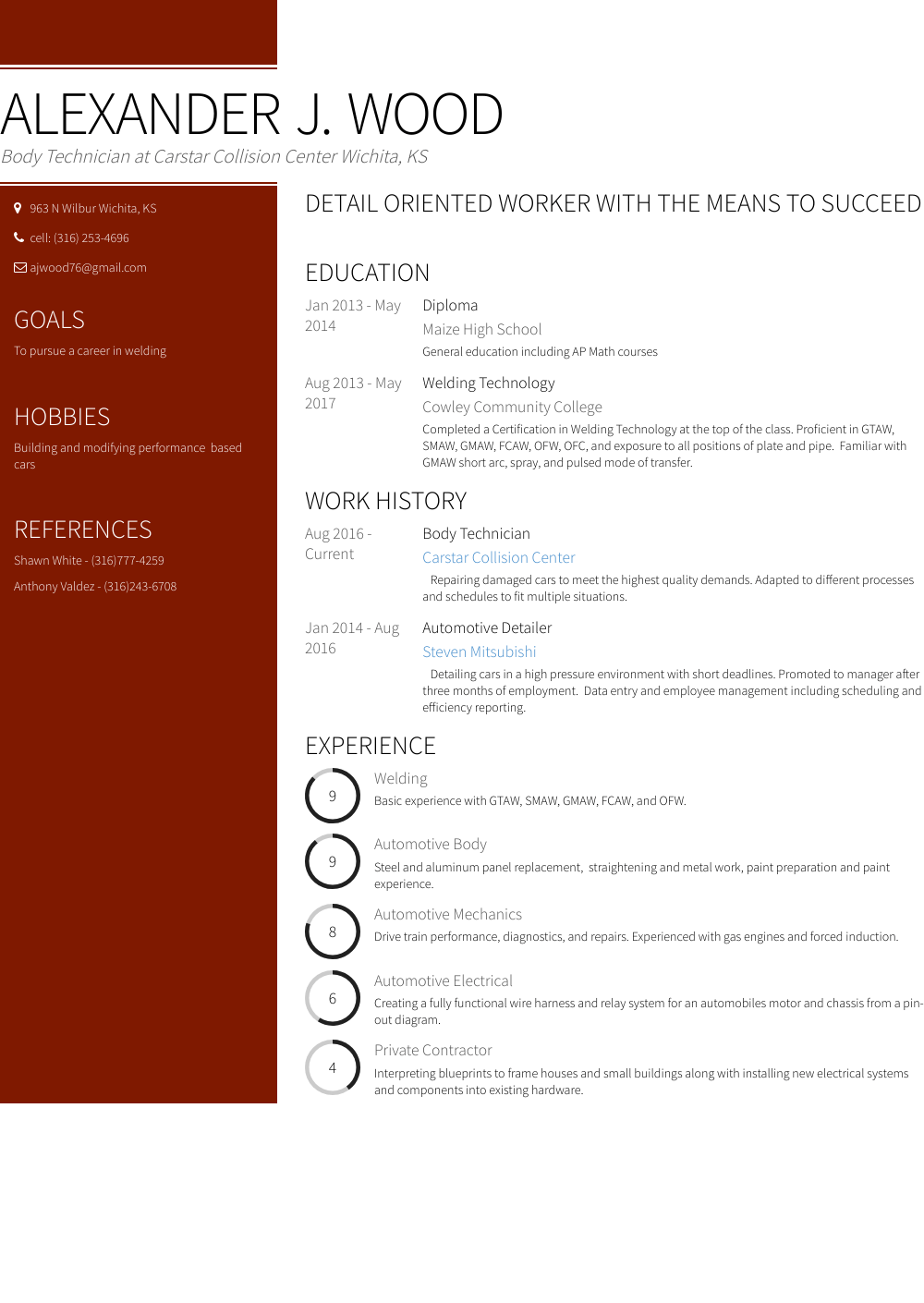 resume color name