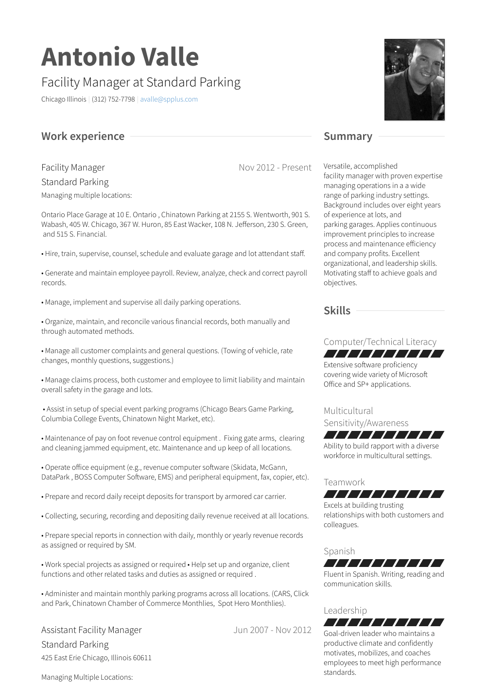 Manager Resume Template Facility Manager Resume Samples Templates Visualcv