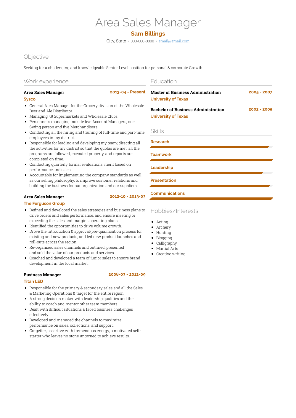 Area Sales Manager Resume Samples & Templates VisualCV