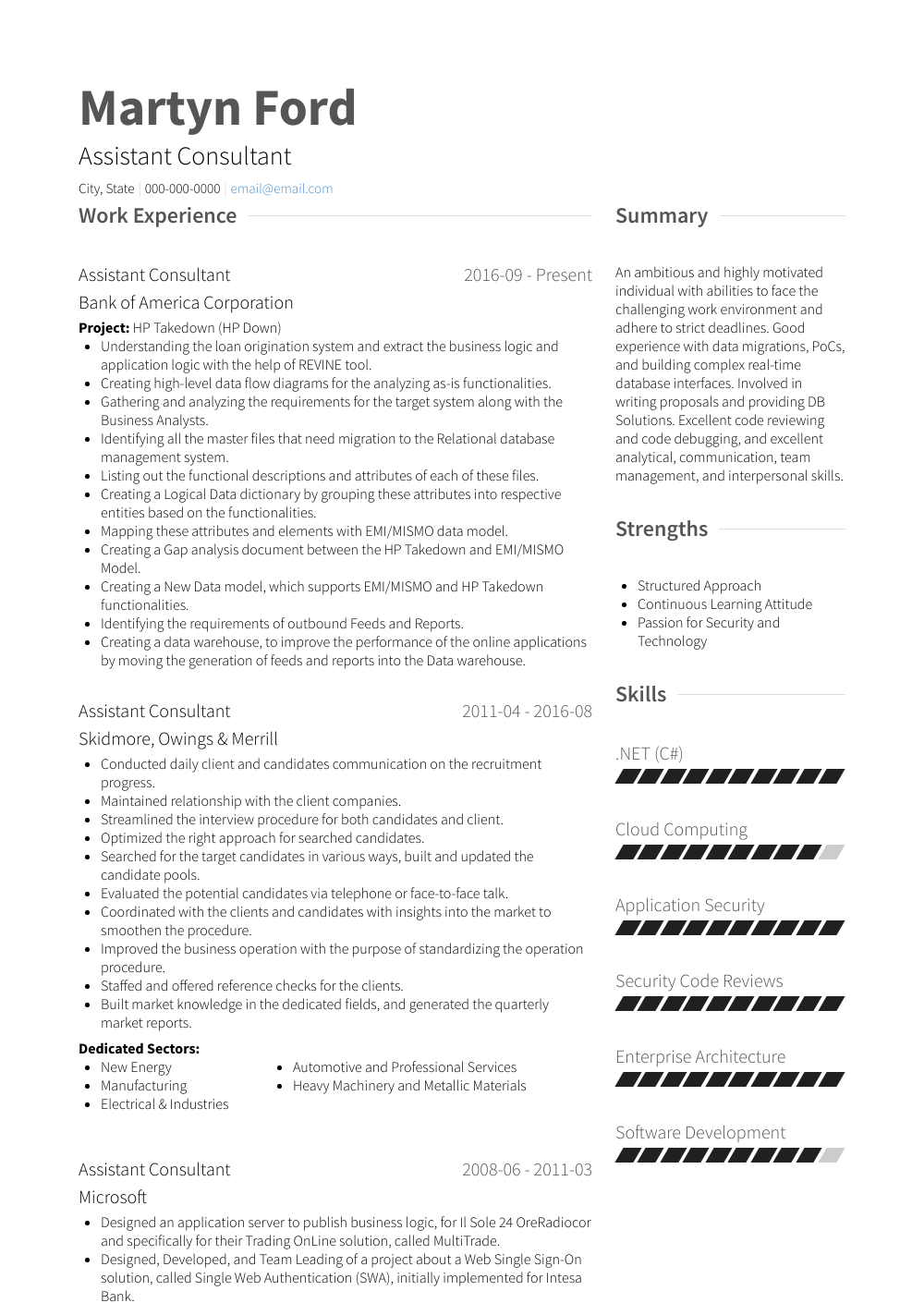 sample resume for single sign on