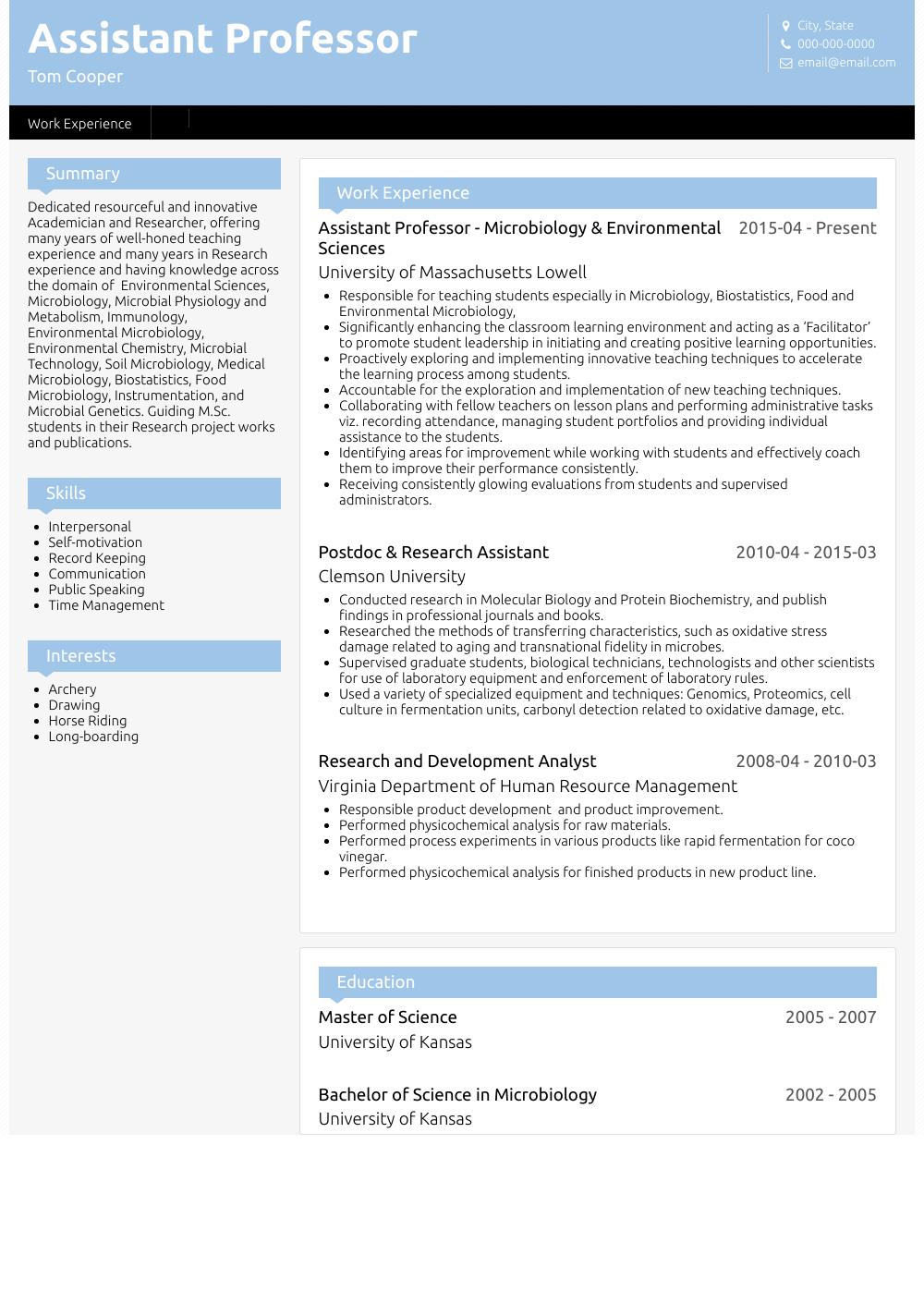 resume cv professor