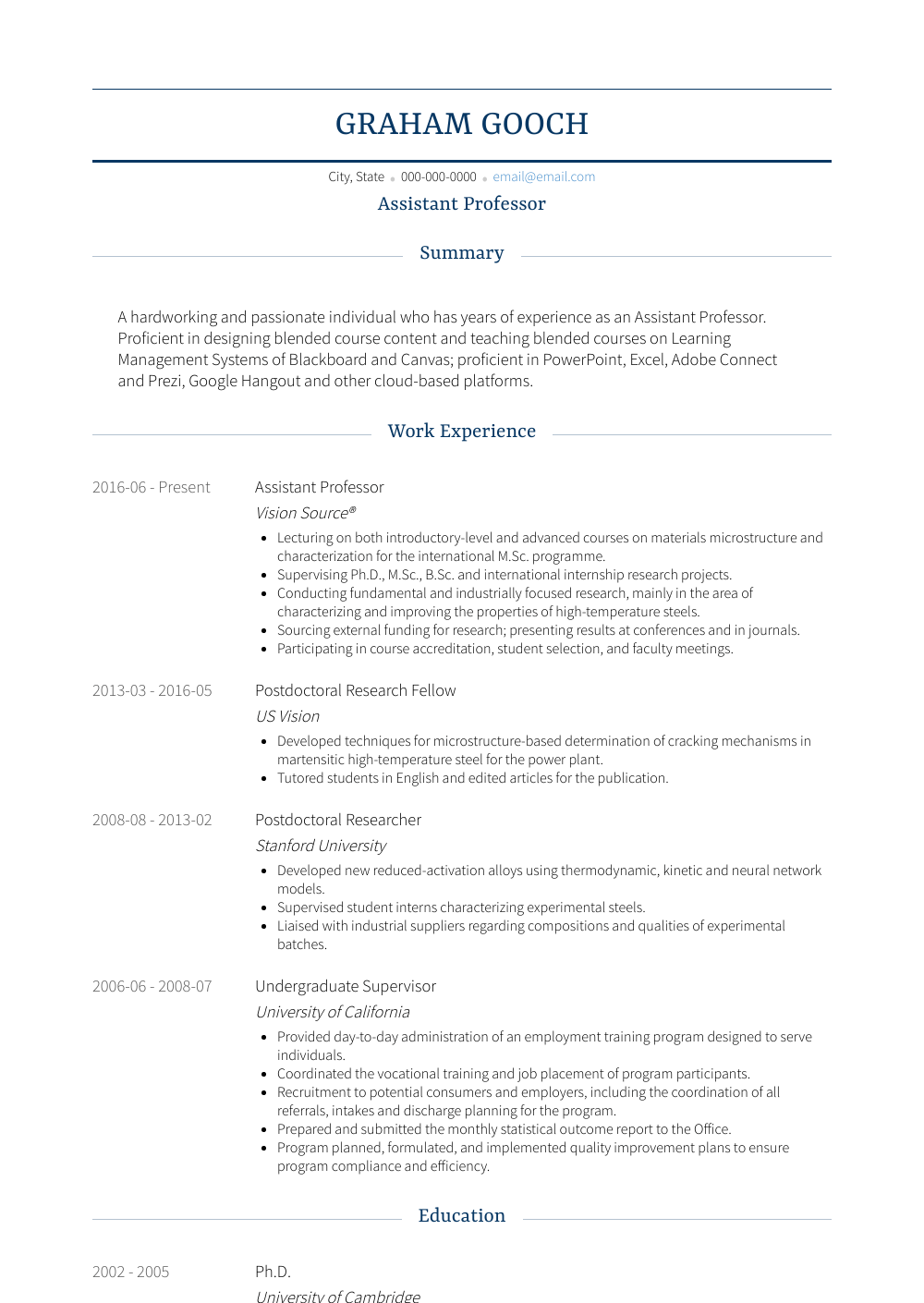 sample resume for lecturer in engineering college
