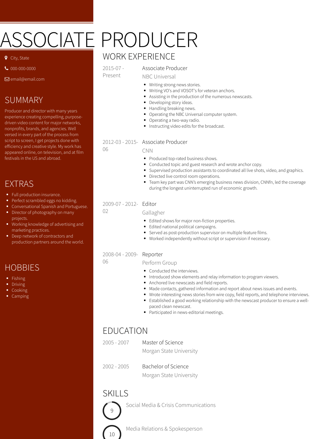 resume samples tv producer
