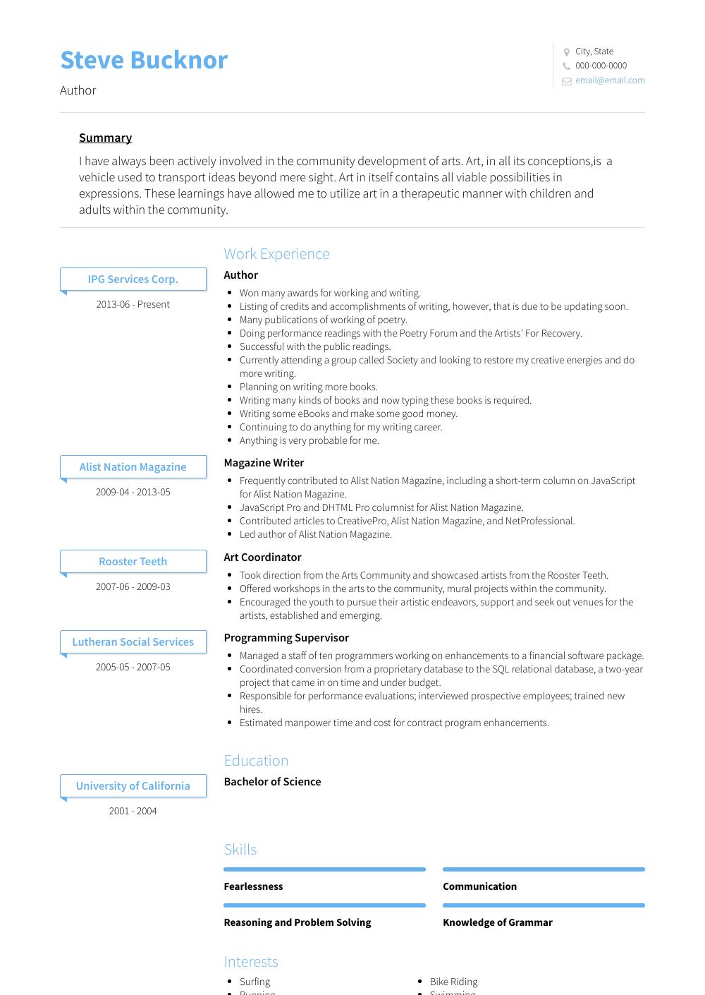 Author Resume Samples & Templates VisualCV