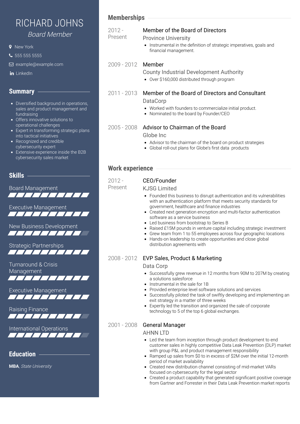 Board Member Resume Samples & Templates VisualCV