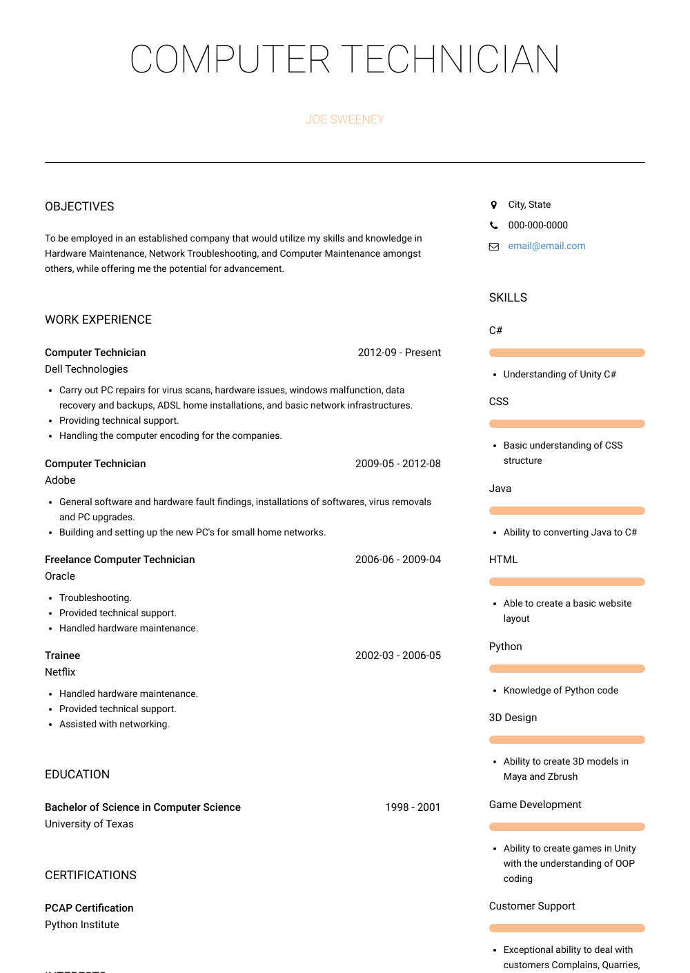 Computer Technician Resume Sample Computer Technician Resume Samples Templates Visualcv
