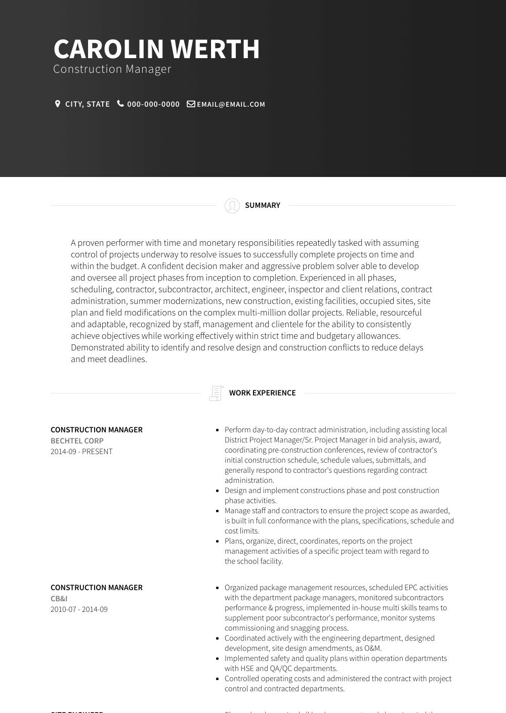 11 best construction resume sample free