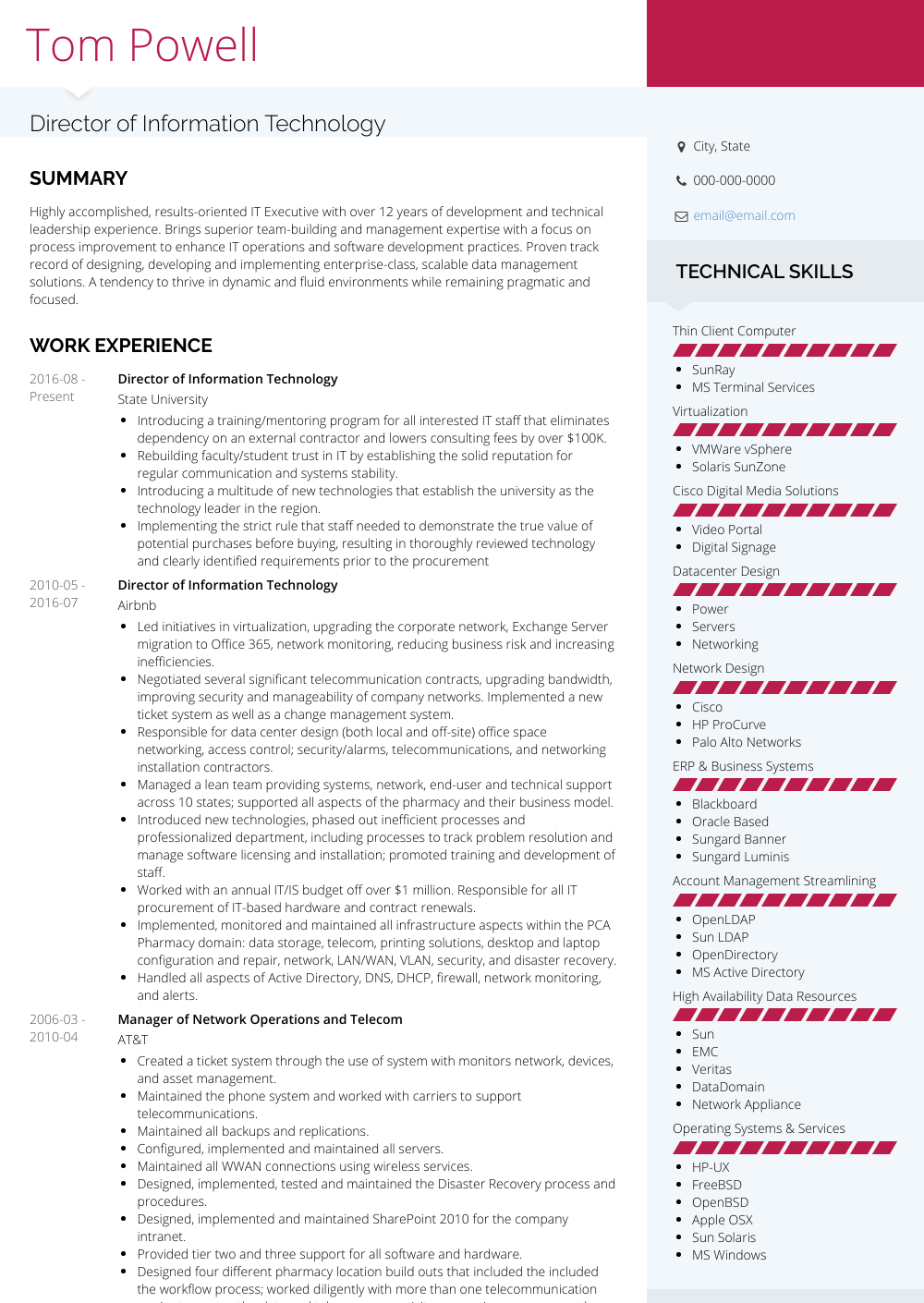 resume templates for information technology