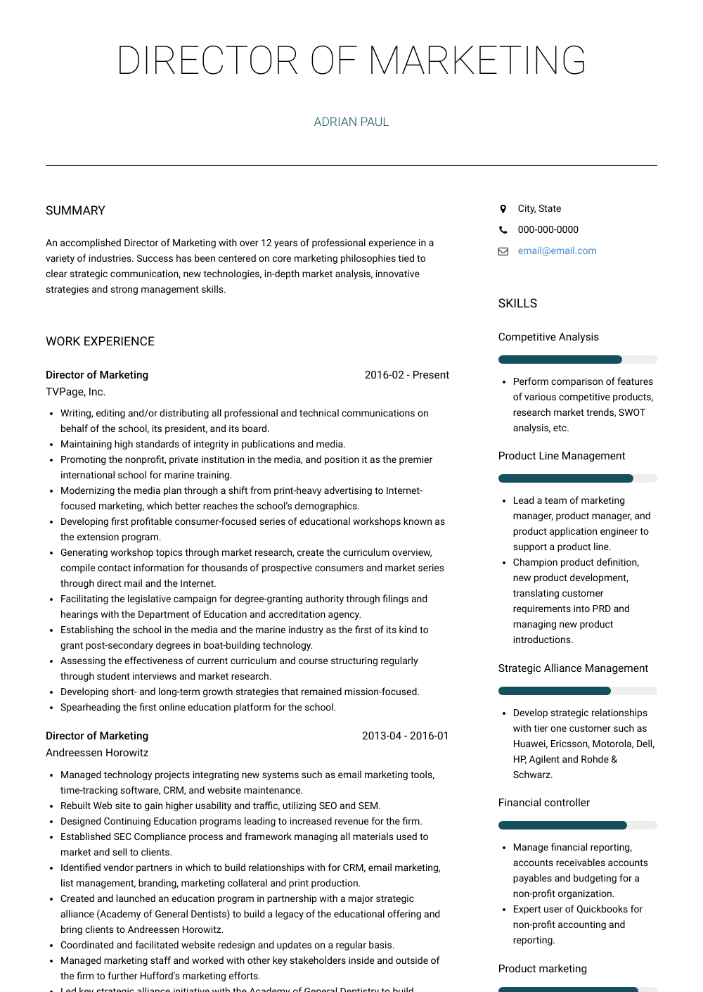 Director Of Marketing Resume Samples & Templates VisualCV