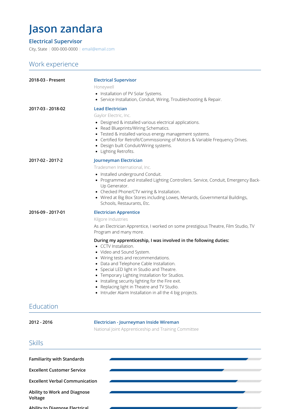 Iti Resume Format Electrician Resume Samples Templates Visualcv