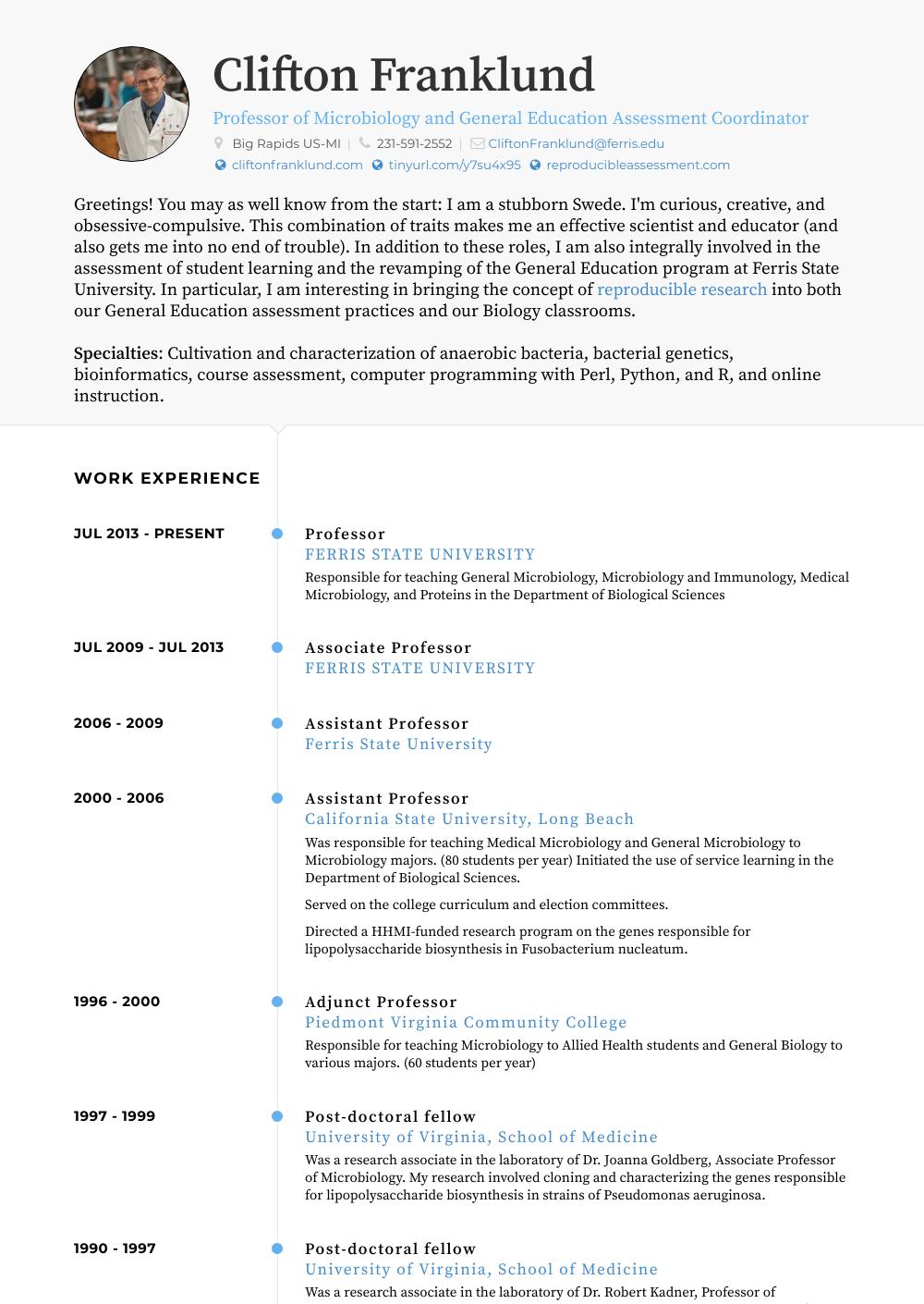 Professor  Resume Samples  Templates  VisualCV