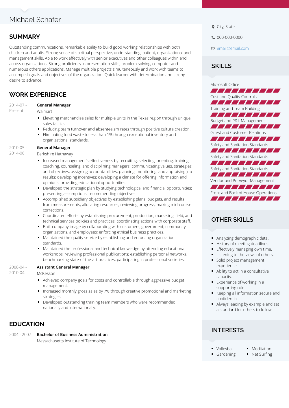 Manager Resume Template General Manager Resume Samples Templates Visualcv