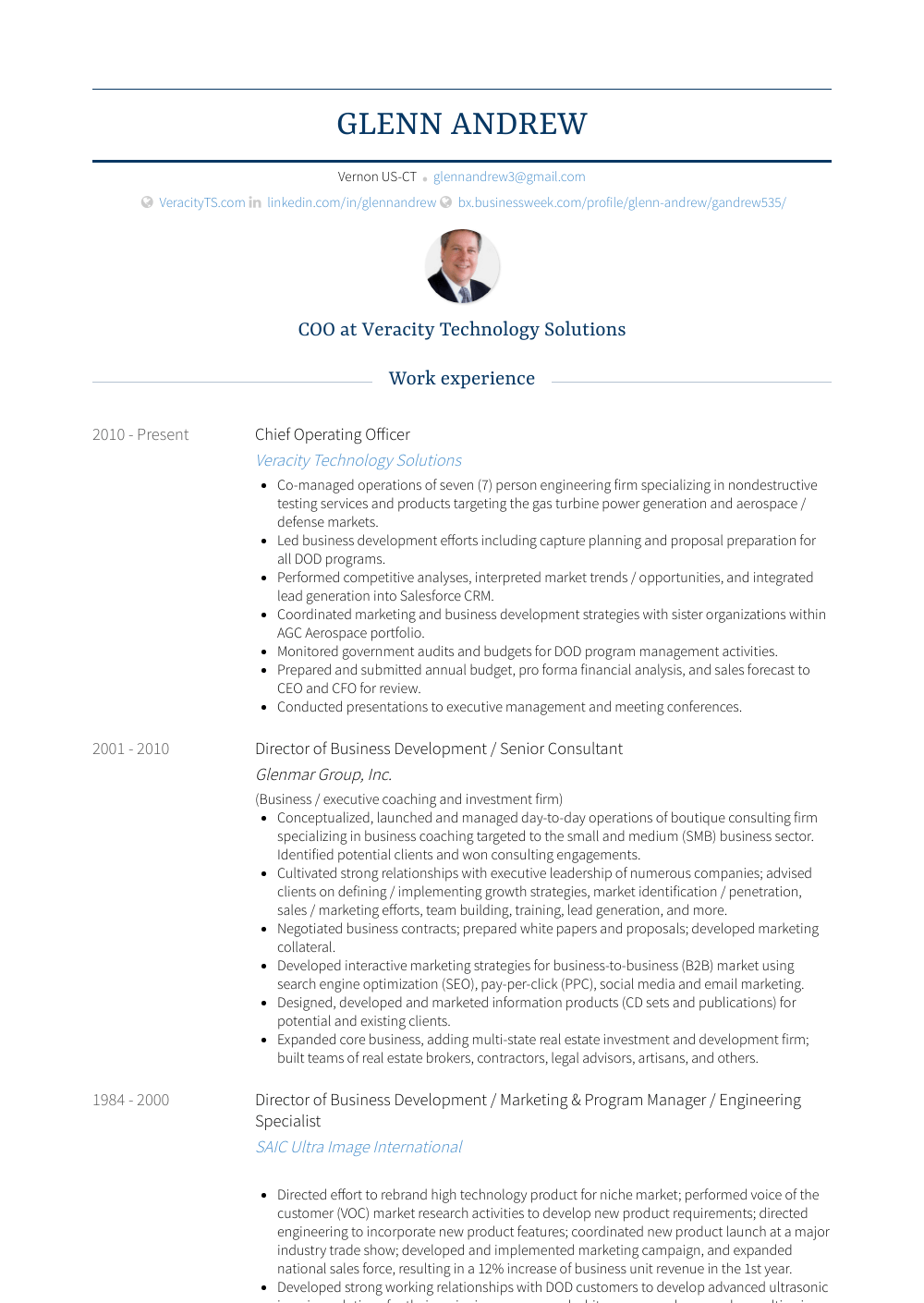 Chief Operating Officer Resume Samples Amp Templates VisualCV