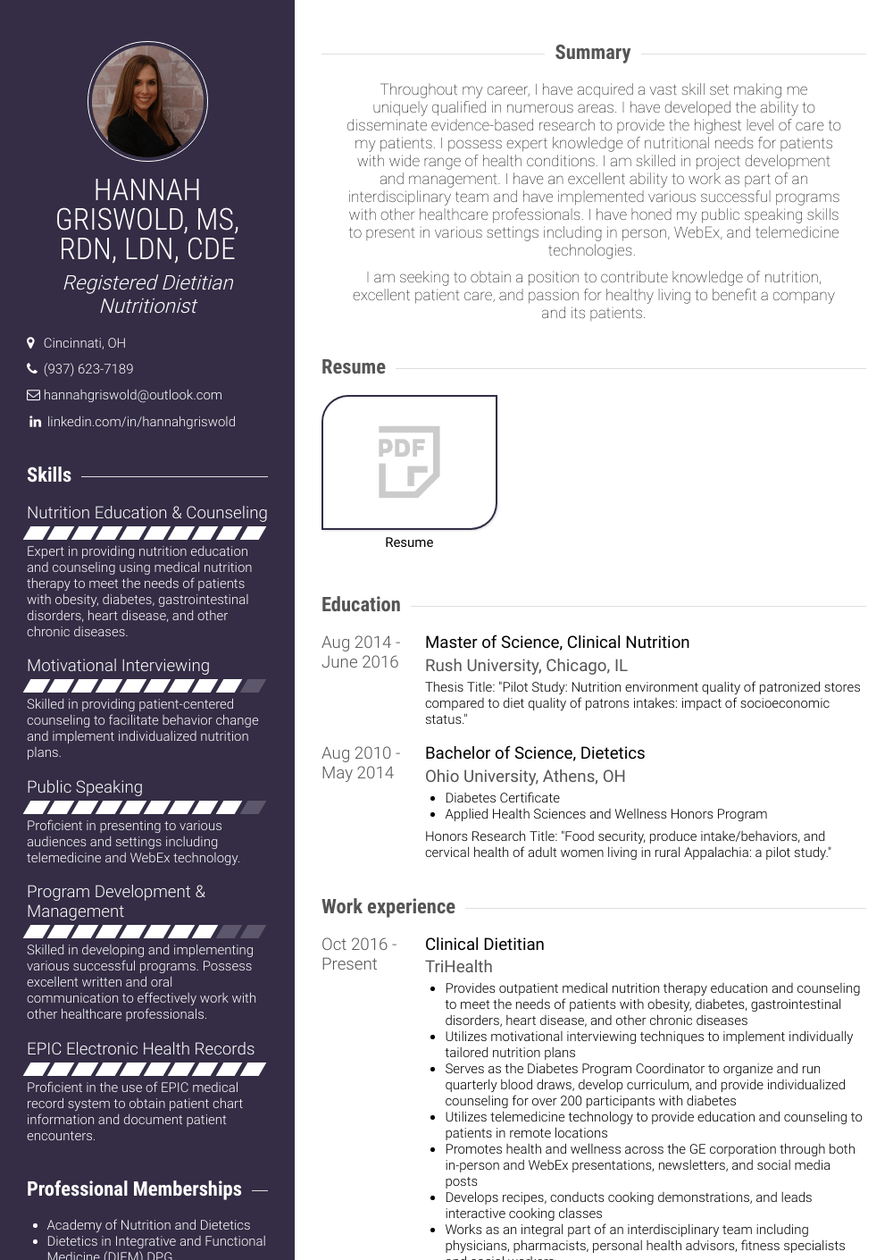Dietetic Intern  Resume Samples  Templates  VisualCV