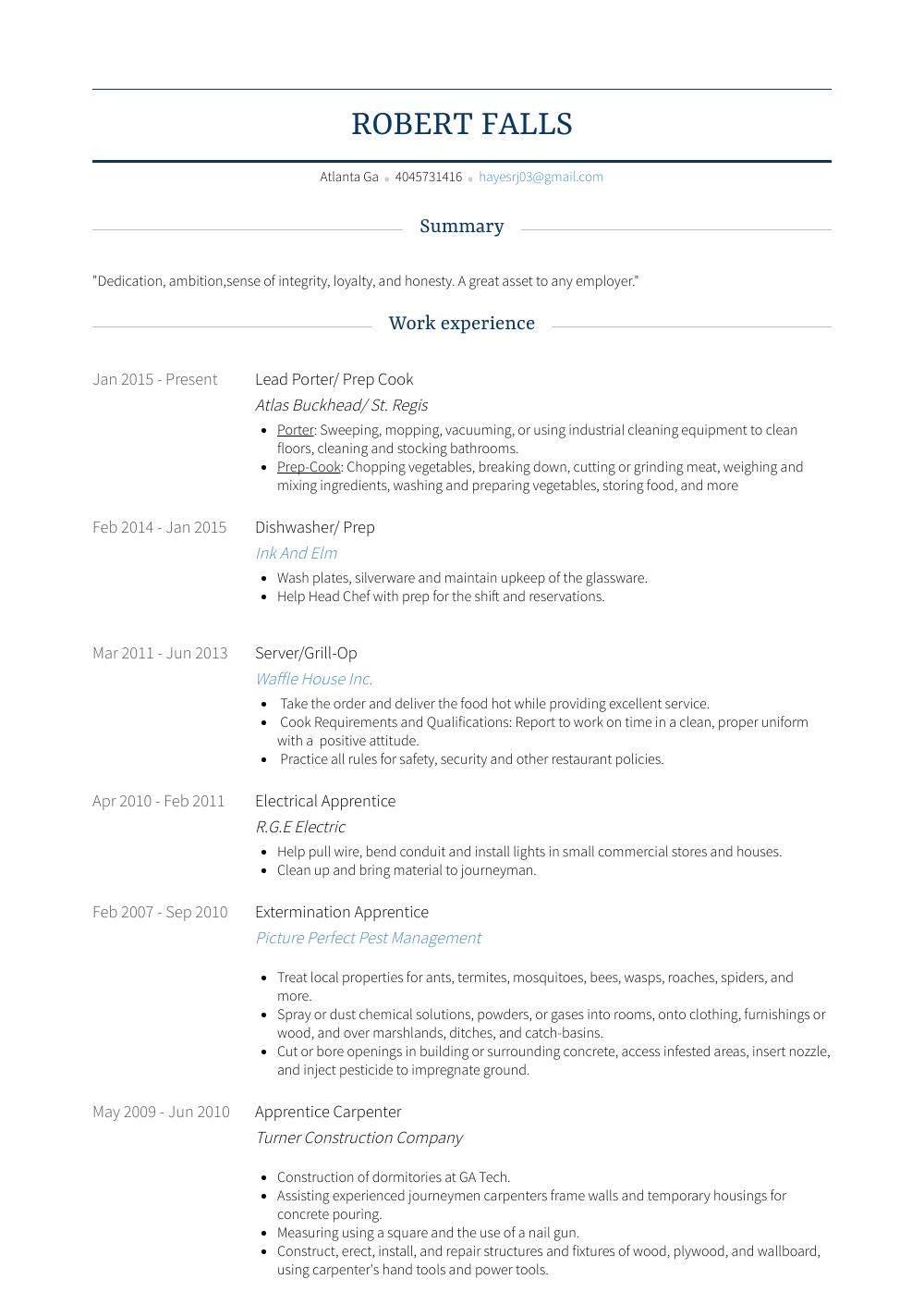 resume examples dishwasher