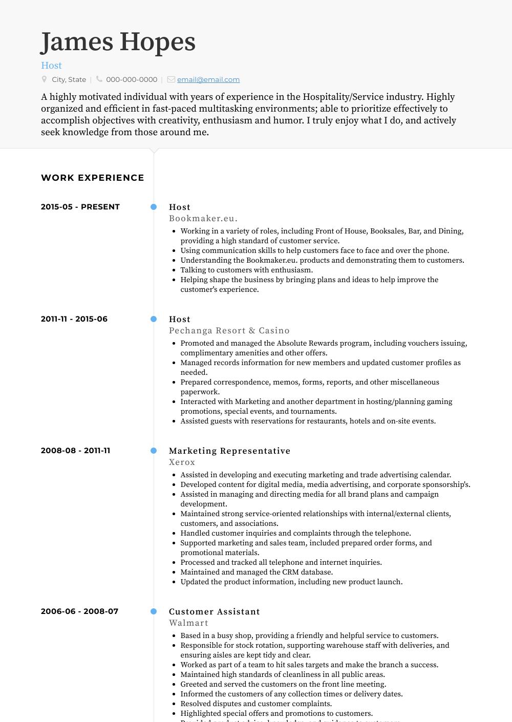 Host  Resume Samples  Templates  VisualCV