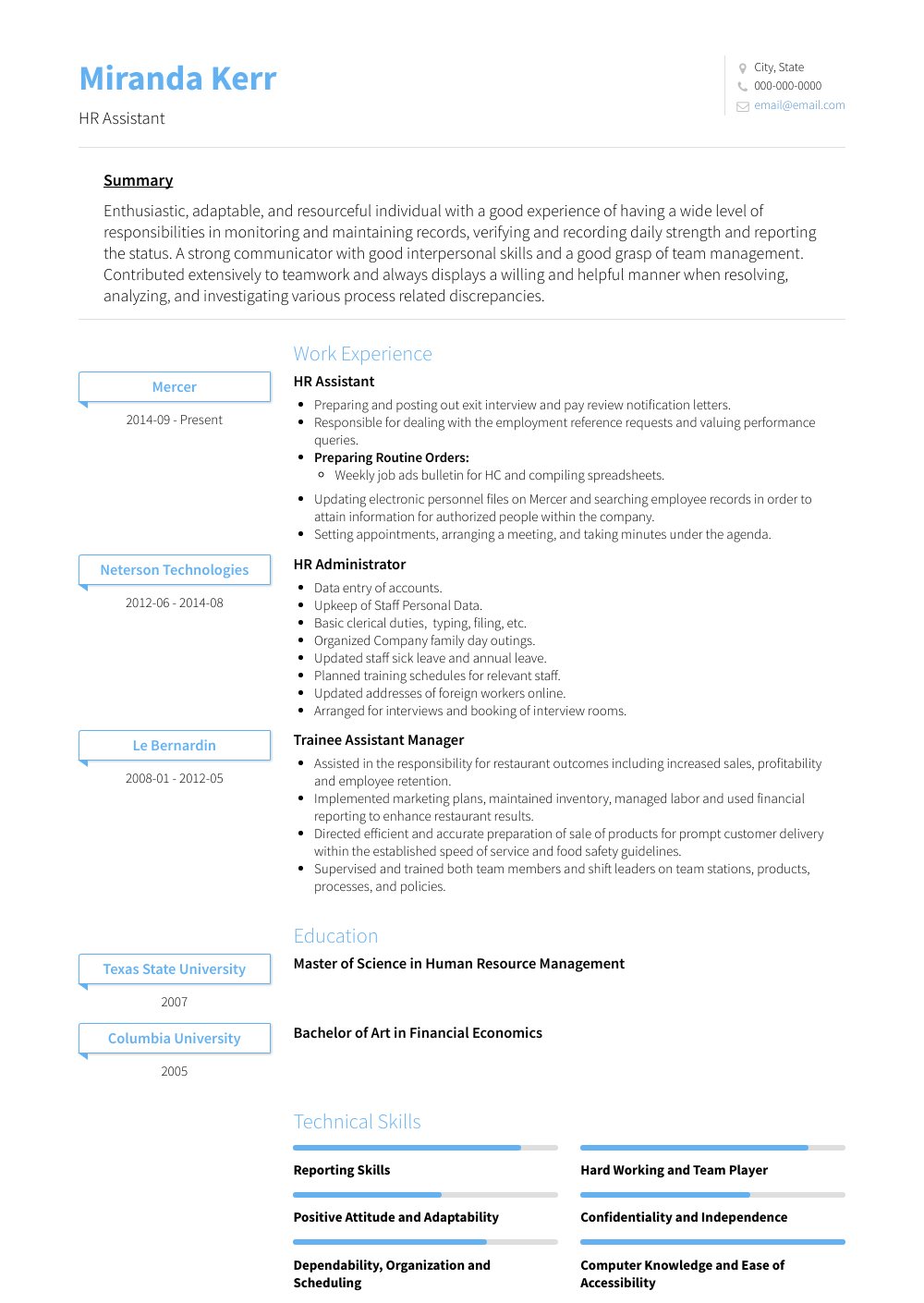 Hr Resume Samples & Templates VisualCV