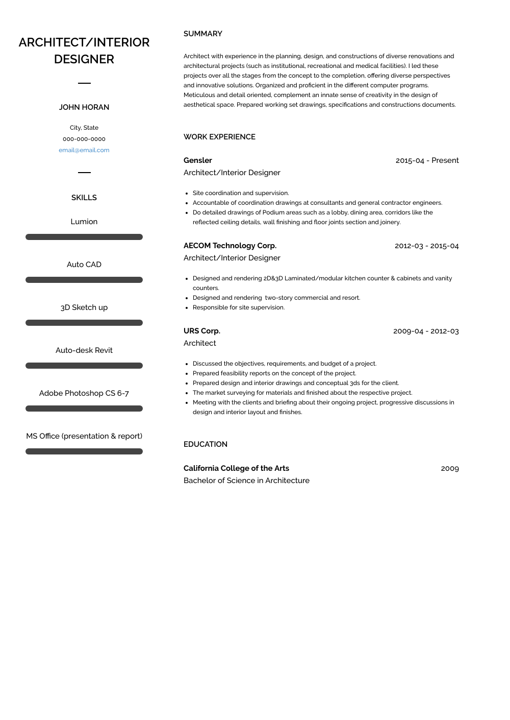 Interior Designer Resume Samples & Templates VisualCV