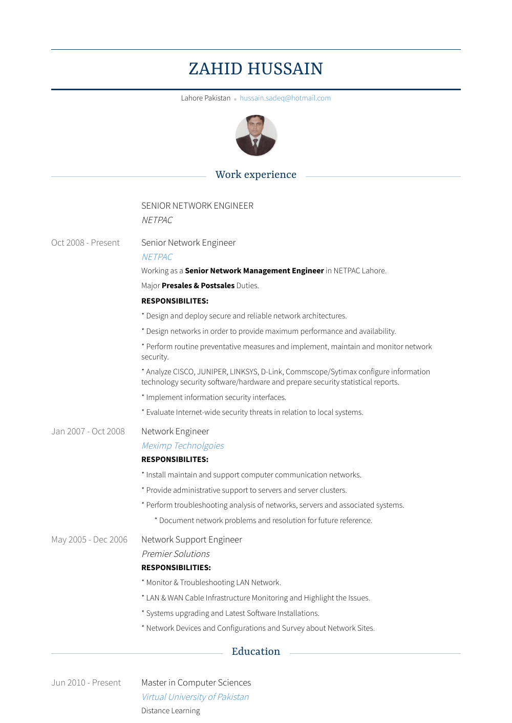 senior network engineer resume sample