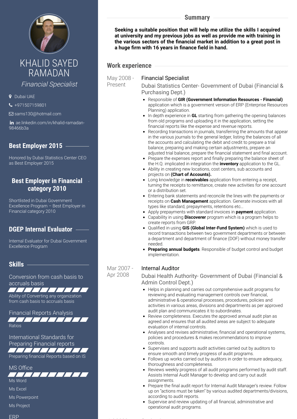 Financial Specialist Resume Samples & Templates VisualCV