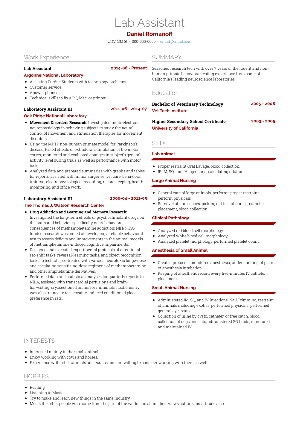 resume sample of electrical lab assistant
