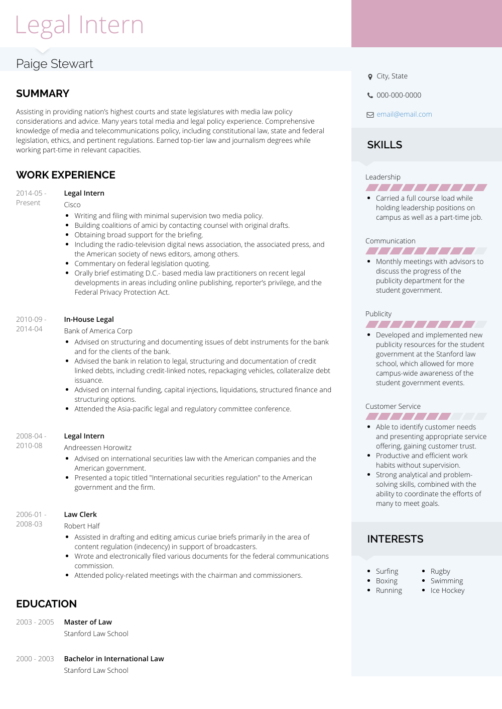 Legal Intern Resume Samples & Templates VisualCV