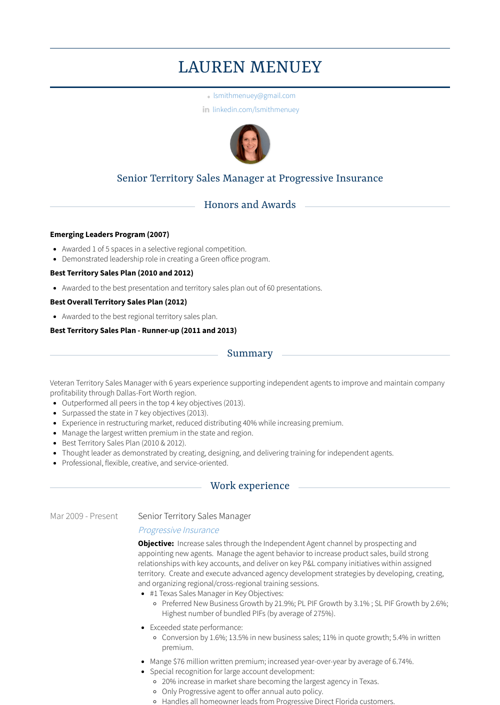 Territory Sales Manager  Resume Samples  Templates  VisualCV
