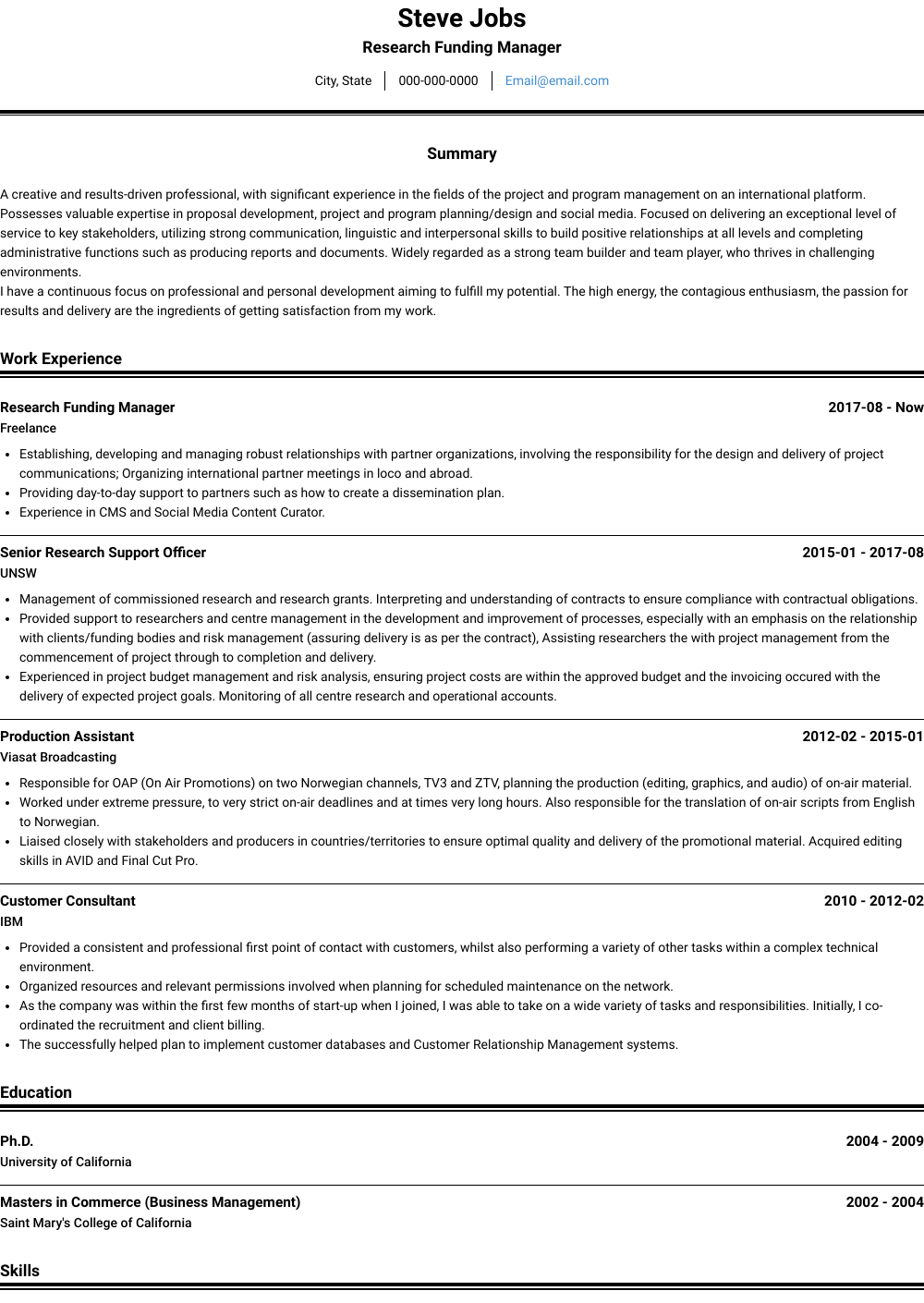 Business Management Resume Examples Management Resume Samples Templates Visualcv