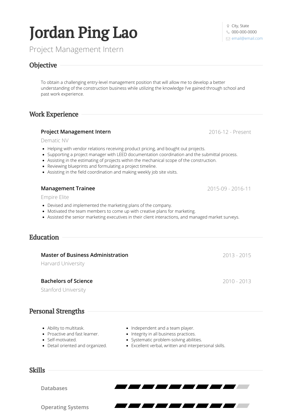 sample management internship resume