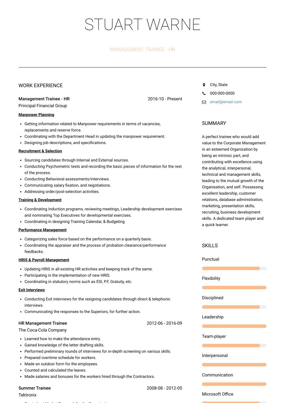 best management resume template