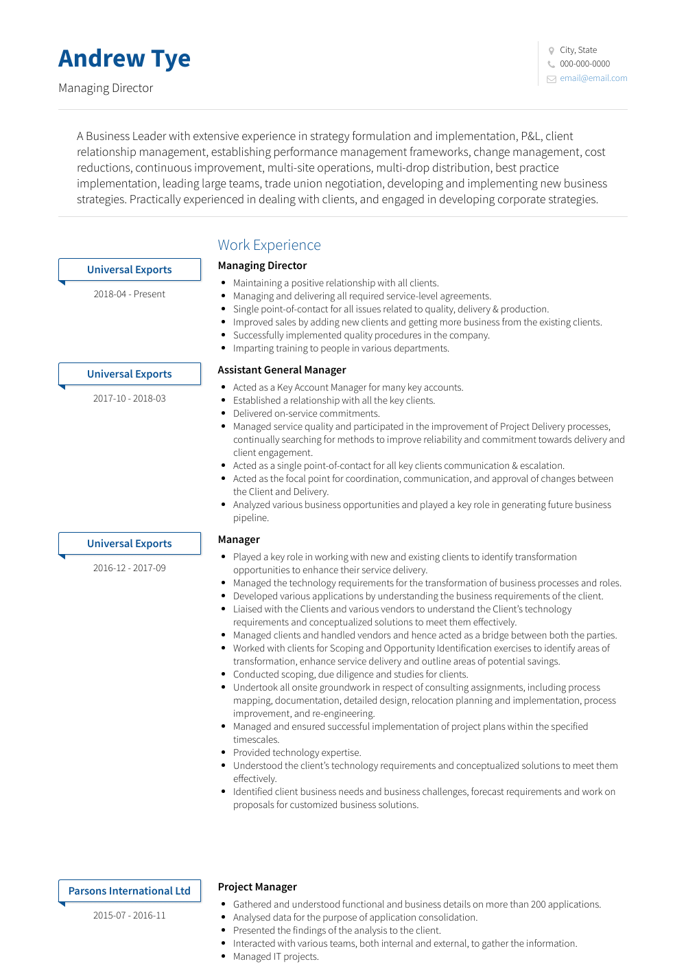 resume samples for director of sales