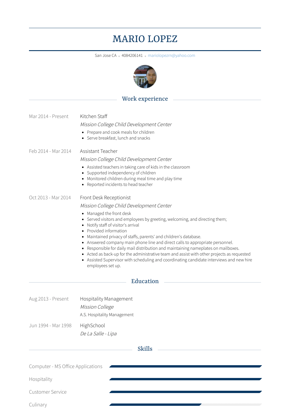 resume builder for student