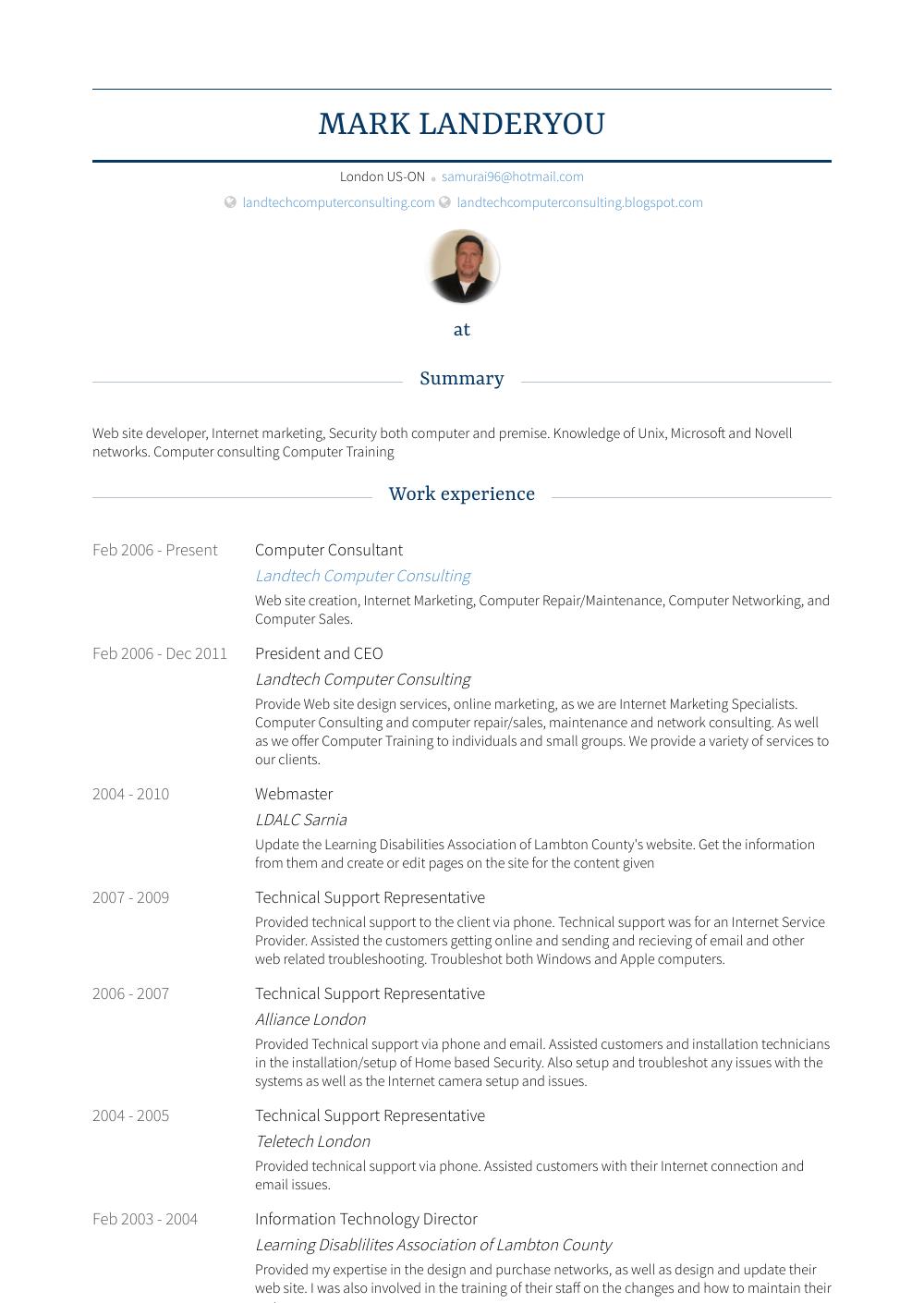computer consultant resume example