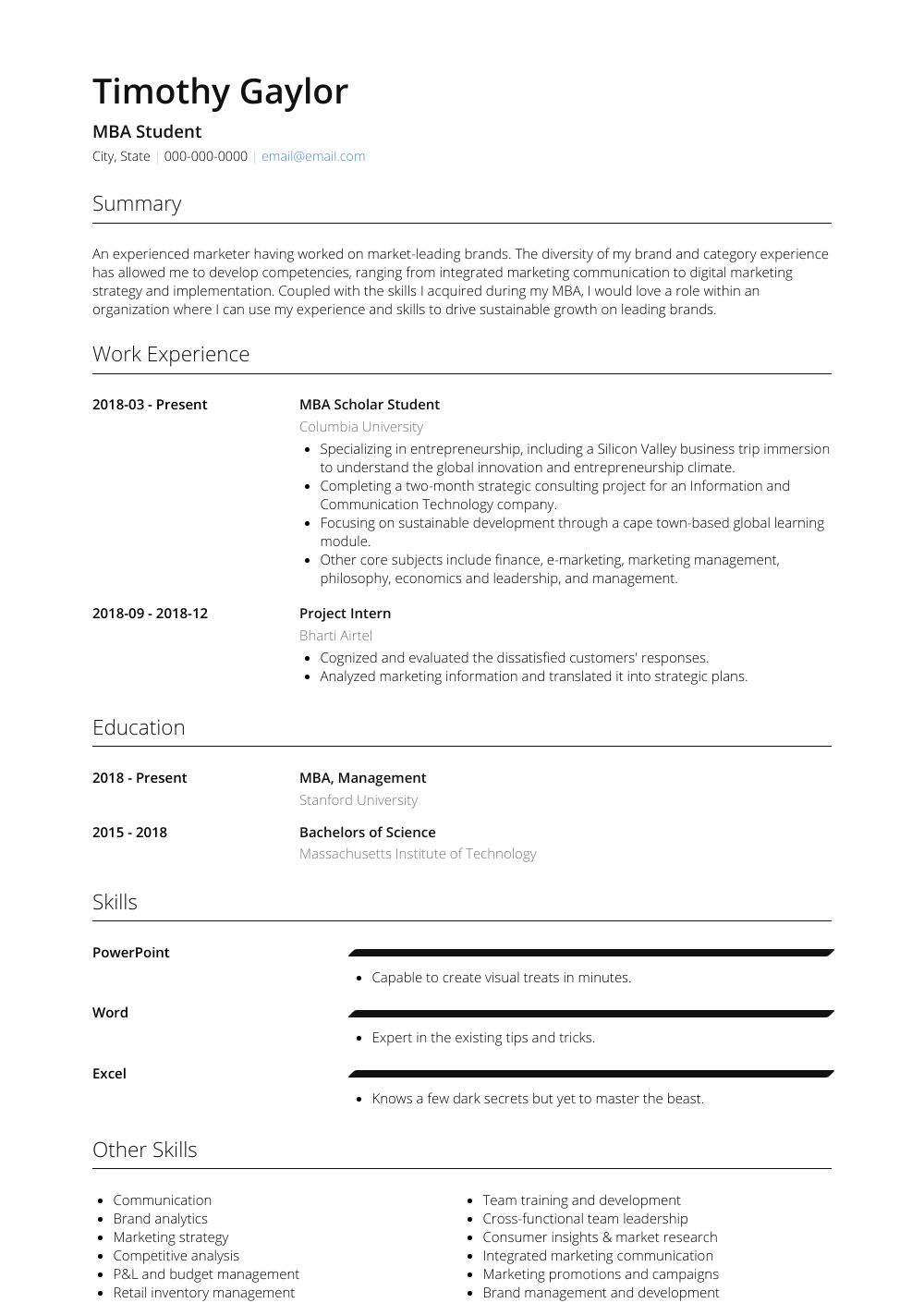 Mba Student Resume Samples & Templates VisualCV